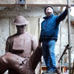James Butler RA, Sculptor, with Clay Figure