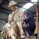 Un-patinated Bronze Statue